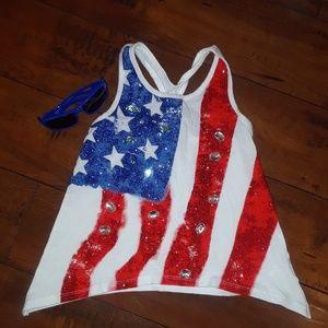 Justice girls American Flag patriotic Tank sz 6